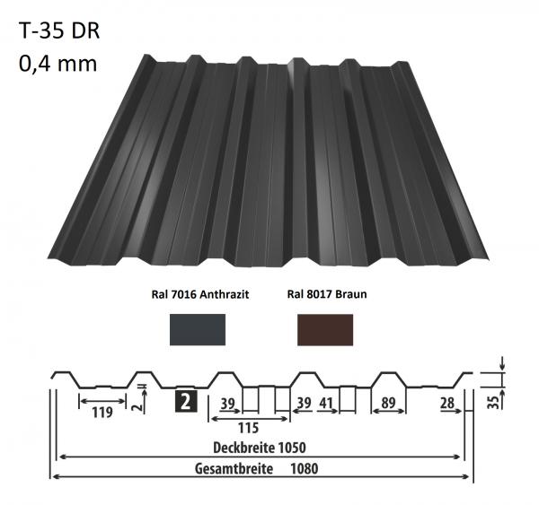 Trapezblech T-35DR 0,4 mm - 8,10 Euro/m² - Dachplatten Dachbleche Profilbleche