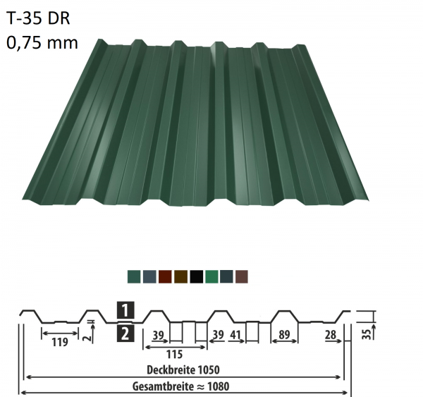 Trapezblech T-35DR 0,75 mm - 11,99 Euro/m² - Dachplatten Dachbleche