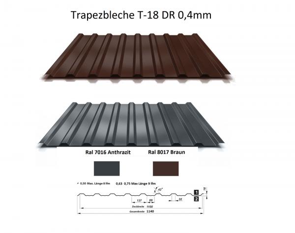 Trapezblech T-18DR 0,4mm - 7,65 Euro/m² - Dachblech Profilblech Dachplatten